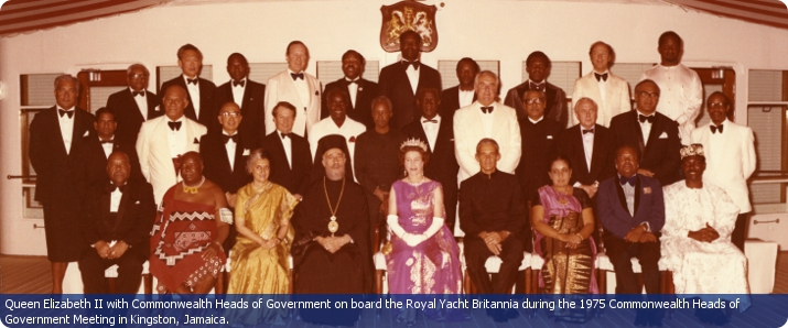 Queen Elizabeth II with Commonwealth Heads of Government on board the Royal Yacht Britannia during the 1975 Commonwealth Head of Government Meeting in Kingston, Jamaica.