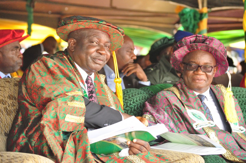 Vice-Chancellor Prof. Hilary O. Edeoga and Dr MacDonald Nwaobiala of the Federal Ministry for Education at the 6th Convocation Ceremony