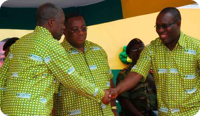 •Vice-President Kwesi Bekoe Amissah-Arthur (right) and Golden Pride Managing Director, Mr Johnson Asamoah Boadi