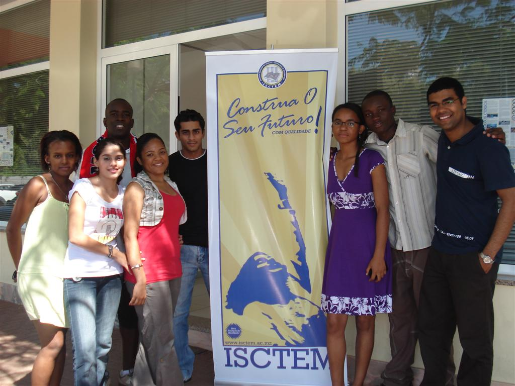 vertical banner and students