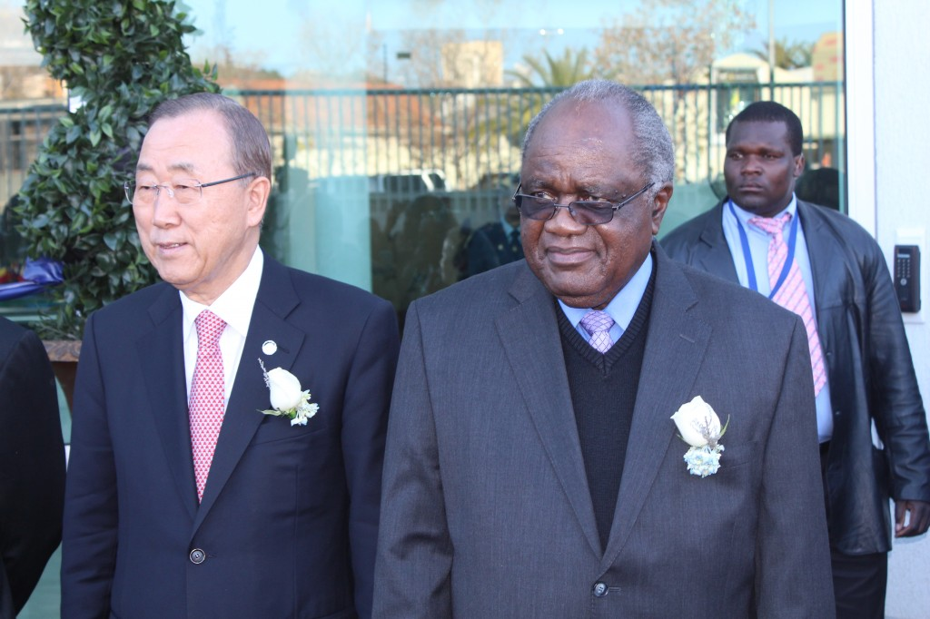 Former President H.E. Hifikepunye Pohamba, with UN Secretary-General H.E. Ban Ki-moon at the official opening of the UN House in Namibia in July 2014