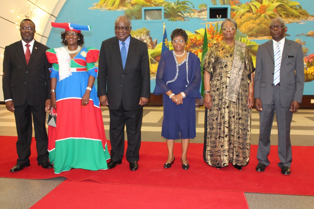 His Excellency Hifikepunye Pohamba, former President of the Republic of Namibia, Madam Penehupifo Pohamba, former First Lady; Honourable Netumbo Nandi-Ndaitwah, Deputy Prime Minister and Minister of International Relations and Cooperation and Spouse, Retired Lieutenant-General Epaphras Denga Ndaitwah, Ambassador Mbapeua Muvangua, Namibian High Commissioner to Botswana and Spouse, Mrs. Dina Uerikua Muvangua on the commissioning day at State House.