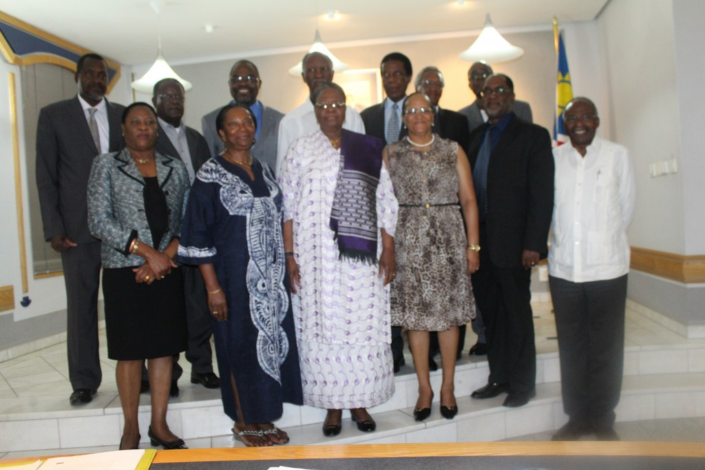Hon. Netumbo Nandi-Ndaitwah, Deputy Prime Minister and Minister of International Relations and Cooperation (front third from left) pictured here with some of the NAFA members in December 2014