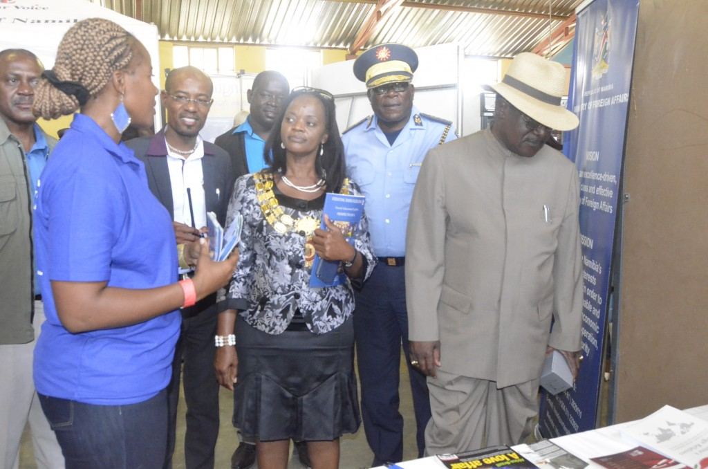 Ms Jacky Hindjou-Mafwila, (left) Chief PRO in the Ministry with the Mayor of Otjiwarongo Town, Ms Hilda Jesaja, Regional Commander of the Otjozondupa Region, Commissioner Joseph Anghuwo and the Regional Governor of the Otjozondjupa Region, Samuel Nuuyoma, during the Ministry's participation in the north-central region of Namibia in its quest to enlighten Namibians about its operations
