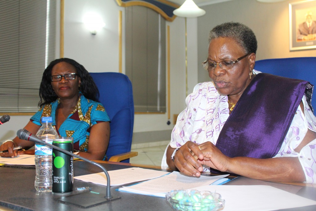 Permanent Secretary, Ambassador Selma Ashipala-Musavyi at a Ministerial Staff Meeting